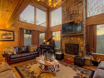 Photo for Mountain getaway with stunning views and private hot tub! Dogs OK!