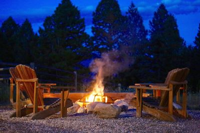 The fire pit between the main house and the guest house, is our favorite spot!