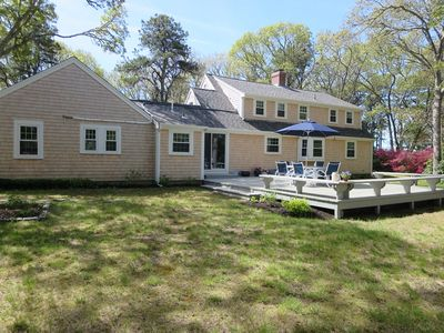 Exterior back with great yard and deck- Easy access to rail trail ! Bike to Public area on Long Pond! - 4 Long Pond Drive Harwich Cape Cod New England Vacation Rentals