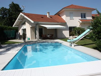 Photo for Villa with heated pool 6km from Lake Annecy - exceptional view