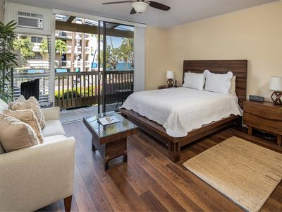 Photo for Begin and end a Kona day with ease! This stylish studio offers floor-to-ceiling windows, hardwood fl