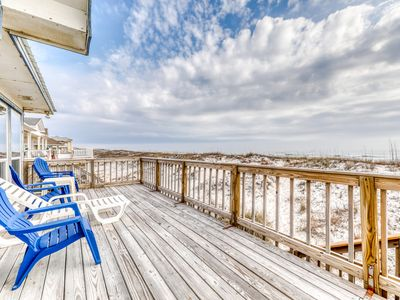 Photo for Beachfront home with expansive sun deck and stunning views - dogs OK!