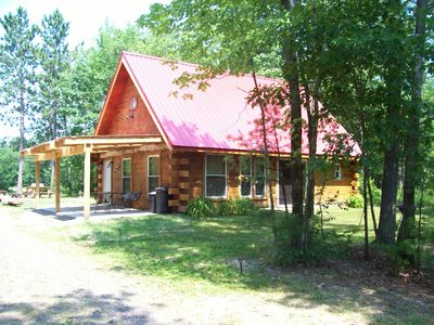 Photo for Private Red Roof Cabin - Rustic Log Cabin In The Woods!