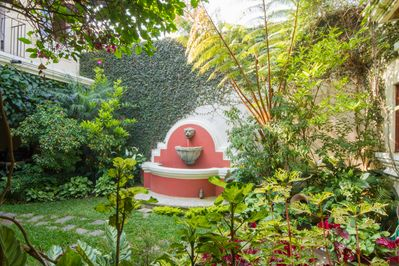 And your luscious interior garden comes with a beautiful fountain.