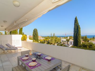 Photo for Bahia Real penthouse with private pool, barbecue and sea views
