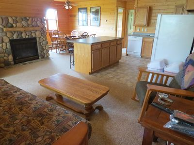 Open floor plan, up north knotty pine near the whitefish chain of lakes