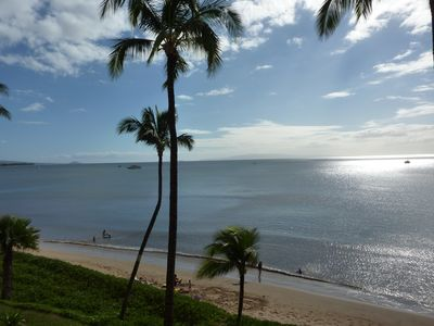 East view from our lanai of Sugar Beach's six mile soft sandy beach.