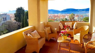 Photo for Alghero villa for 8 persons with sea view in the green with terrace and garden