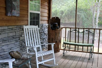Sit down and relax for a while on the screened-in front porch. You will LOVE it