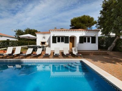 Photo for Beachfront villa for 8 people with pool in Ferreries