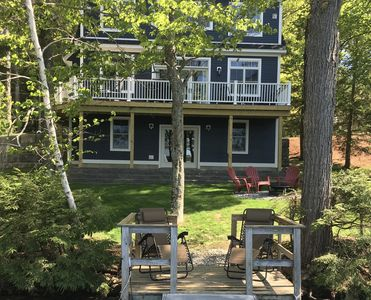 Newly Built Open-Concept Lakefront Home with Dock Large Deck and Upscale Kitchen