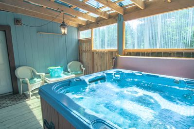This private, indoor 6 person hot tub is located on the ground floor  and is a perfect way to relax after a long day at the beach