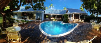Fresh water swimming pool with options for sun and shade lovers.