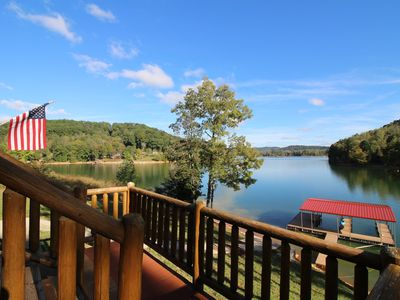 Photo for Beautiful Log Cabin private dock sheltered cove w/quick access to open ski water