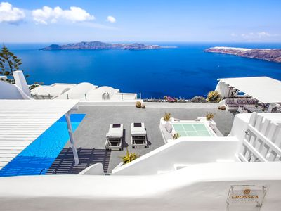 Photo for Erossea Villa with Private Heated Pool and Jacuzzi, Santorini, Greece