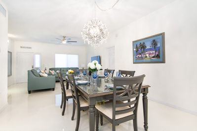 new dining room set for 6 with spectacular chandelier