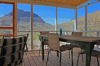 Screened porch for dining or relaxing.  No need to worry about flying insects.