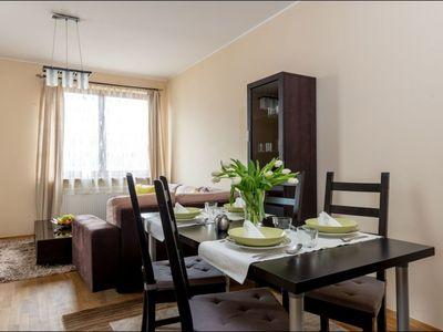Photo for Okecie apartment in Ochota with WiFi, private parking, balcony & lift.