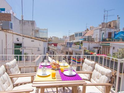 Photo for PURPLE ATTIC Penthouse with terrace, AC and WIFI in Sitges.