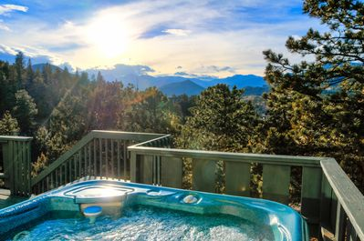 Hot tub in a beautiful location for privacy and views.