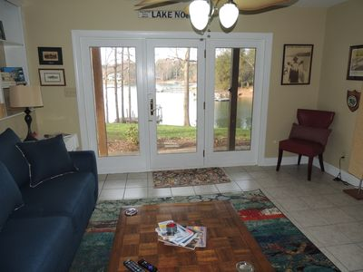Photo for Great Lake Norman views- private waterfront level house - access to deep dock