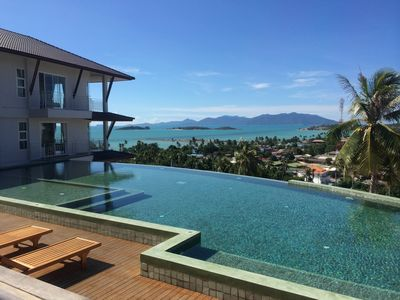 Pool, Sea and view of Koh Phagnan from Balcony.