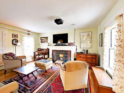 Living Room - The living area has a fireplace and comfy seating.