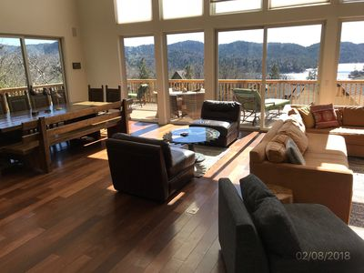 Huge open floor plan that all opens up to the lake.  Cook, dine & hang together!