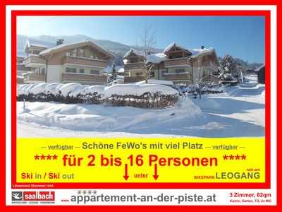 Photo for SKI-IN SKI-OUT in LEOGANG: 3 BR - Luxury FEWO * 82sqm * TopLocation * Garden * Fireplace