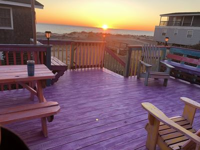Photo for BEACH FRONT*SEMI-OCEAN FRONT HOUSE*BIKE PATH*REC ROOM*HOT TUB*PIER FISHING!!