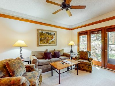 Photo for Lovely family villa w/wood-burning fireplace + shared hot tub & pool - near lift