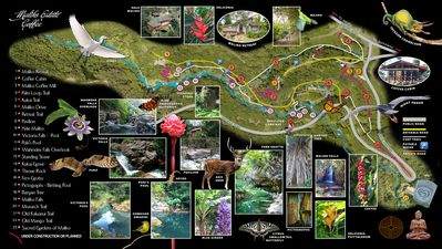 Map of the grounds with trails and featured points of interest.