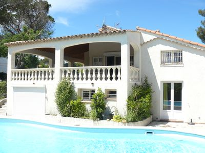 Photo for Very beautiful VILLA 300 m beaches, air-conditioned, covered terrace, barbecue,