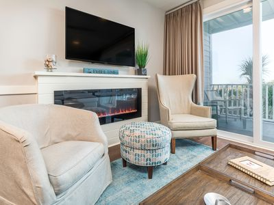 Atlantic Ocean 2 Lavish Living Area with Sleeper Sofa, Flat Screen TV and Electric Fireplace for Ambiance