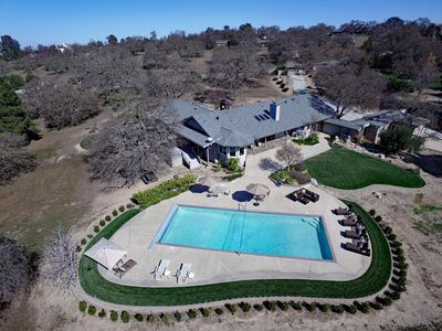 Drone shot of main house and pool area