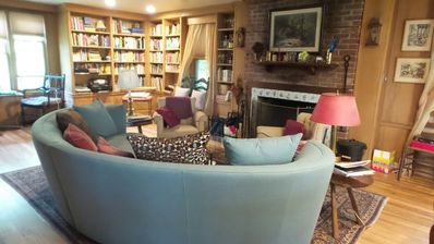 Living room and library.