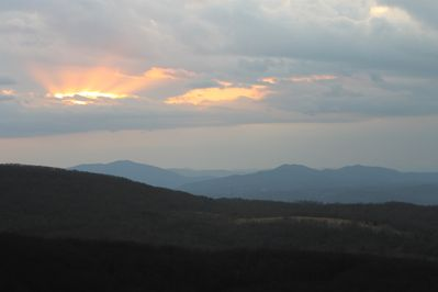 The sunset over the mountains is breathtaking!