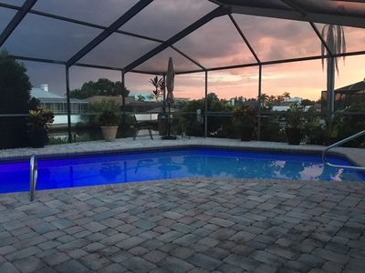 Pool view at sunset
