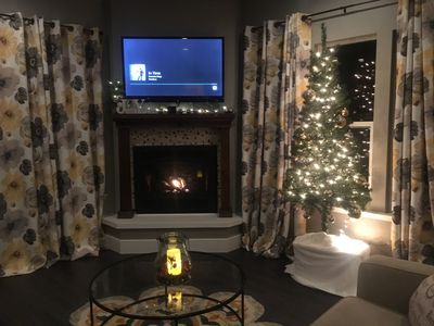 Christmas with a warm fireplace