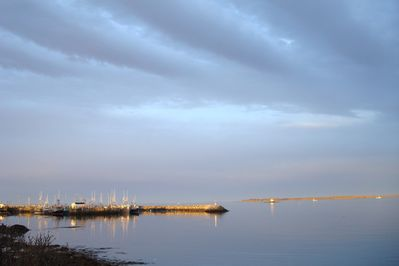 the view from the water's edge to the left; the Wood's Harbour harbour.