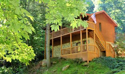 Photo for Smoky Mountain Cabin located on the river for family fun