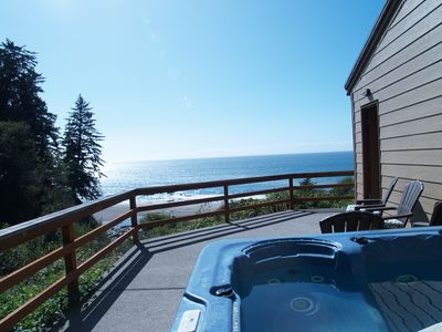 Photo for The Beach Bungalow ~ Ocean front, private beach & secluded hot tub!