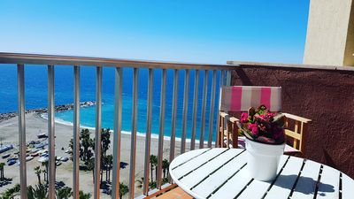Photo for Penthouse studio on the 1st line of the beach with stunning sea views