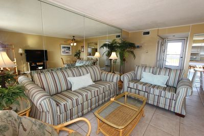 Relax in coastal cottage comfortable in this beautifully decorated two-bedroom/two-bath, pet-welcoming condo.