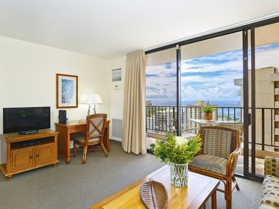 Photo for Shimmering Ocean Views!  A/C, WiFi, Pool, Parking, Close to beach!  Sleeps 4.