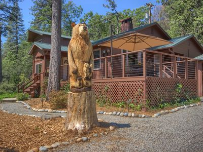 Photo for Charming, Restored 1945, Bass Lake Cabin with Distant Views & Flowering Gardens