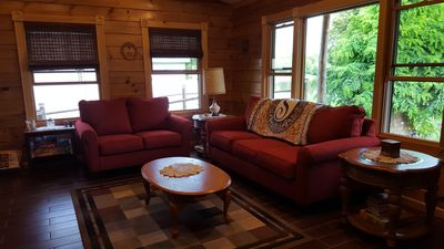 Relax in the comfort of a newly built rustic home away from home.