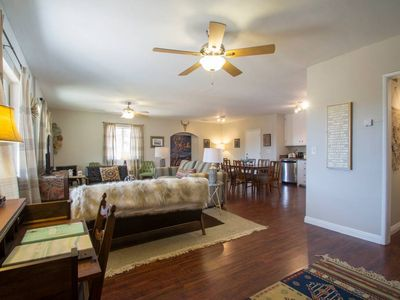 Photo for 1961 Desert Lodge Bungalow- Walk to the Village, Hot Tub, BBQ, Outdoor Fireplace