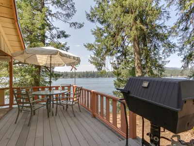 Photo for NEW LISTING! Dog-friendly, lakefront cabin w/private dock, beach access & views