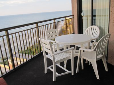 outside dining on balcony. Unobstructed ocean front view.